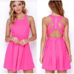 Lulus Test Drive Neon Pink Open Back Party Dress L